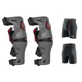 1010303-RPSMS33 - racingpowersports.com - Mobius X8 Knee Braces MEDIUM Grey / Crimson PAIR Dirt Bike MX ATV Free EVS