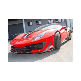 Pista.FrontWings-RPSCO688 - racingpowersports.com - Capristo Ferrari 488 Pista Carbon Fiber Front Spoiler with Side Wings