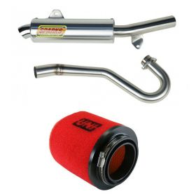 PH04450TRXSS-M+NU-4126ST-RPSSS225 - racingpowersports.com - Sparks Racing X6 Race Core Exhaust Uni Dual Stage Air Filter Honda TRX450R 04-05