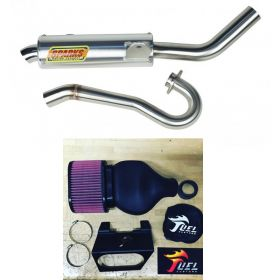 PS06450LTRSS-BC+IN016-RPSSS229 - racingpowersports.com - Sparks Racing X6 Big Core Exhaust Fuel Customs Intake Suzuki LTR450 2006-2011