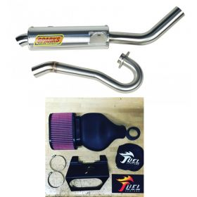 PS06450LTRSS-M+IN016-RPSSS230 - racingpowersports.com - Sparks Racing X6 Race Core Exhaust Fuel Customs Intake Suzuki LTR450 2006-2011