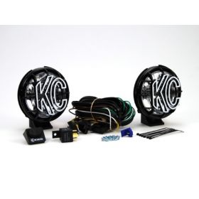 "451-RPSKC125 - racingpowersports.com - Kc Hilites 5"" Apollo Pro Halogen Pair Pack Black Spread Beam"