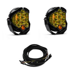 320011+640172-RPSBA2352 - racingpowersports.com - Baja Designs Pair LP9 LED Amber Spot Lights & Harness Kit