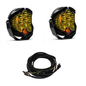 320013+640172-RPSBA2354 - racingpowersports.com - Baja Designs Pair LP9 Amber LED Driving/Combo Lights & Harness Kit