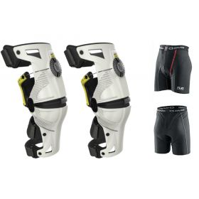 1010103-RPSMS13 - racingpowersports.com - Mobius X8 Knee Braces MEDIUM White / Acid Yellow PAIR Dirt Bike MX ATV Free EVS