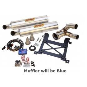 EPDP141000XPSS-BL-RPSSS168 - racingpowersports.com - Sparks Racing Stage 1 Power Kit Ss Slip On Blue Exhaust Polaris Rzr Xp 1000